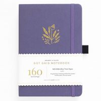 Archer & Olive A5 Floral Details Dot Grid Notebook 160pp Lavender/Gold (NEW)