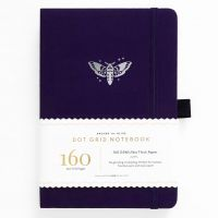 Archer & Olive A5 Midnight Moth Dot Grid Notebook 160pp Purple/Silver (NEW)