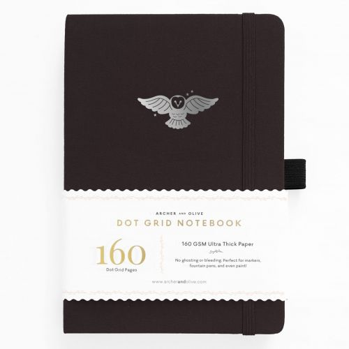 Archer & Olive A5 Night Owl Dot Grid Notebook 160pp Black/Silver (NEW)