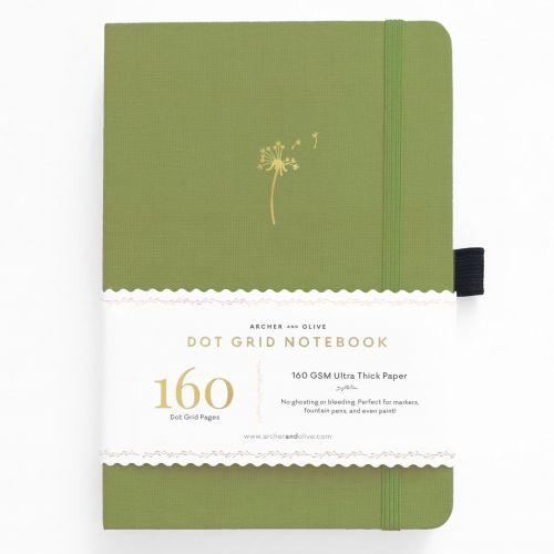 Archer & Olive A5 Dandelion Dreams Dot Grid Notebook 160pp Fern/Gold (NEW)
