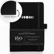 Archer & Olive A5 Moon Phases Blackout Dot Grid Notebook 160pp Black/Silver (NEW)