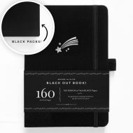 Archer & Olive A5 Shooting Star Blackout Dot Grid Notebook 160pp Black/Silver (NEW)
