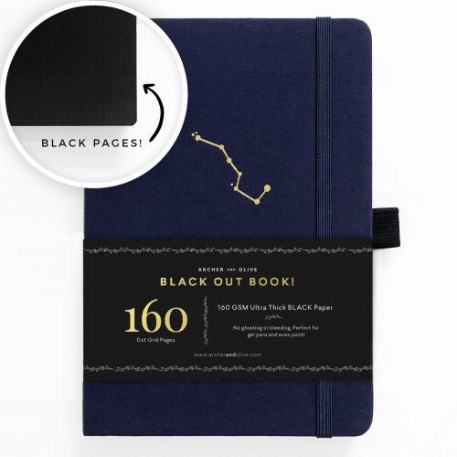 Archer & Olive A5 Night Sky Blackout Dot Grid Notebook 160pp Navy/Gold (NEW)