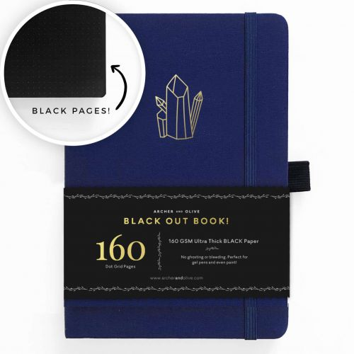Archer & Olive A5 Crystal Vibes Blackout Dot Grid Notebook 160pp Blue/Gold (NEW)