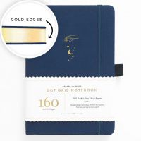 Archer & Olive A5 Stardust Dot Grid Notebook with Gold Gilded Edges 160pp Blue/Gold (NEW).