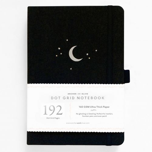 Archer & Olive A5 Forest Night Dot Grid Notebook 192pp Black/Silver (NEW)