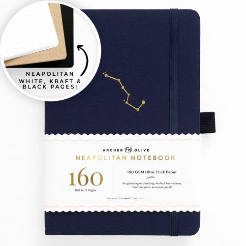 Archer & Olive A5 Night Sky Neapolitan Dot Grid Notebook 160pp Navy/Gold (NEW)