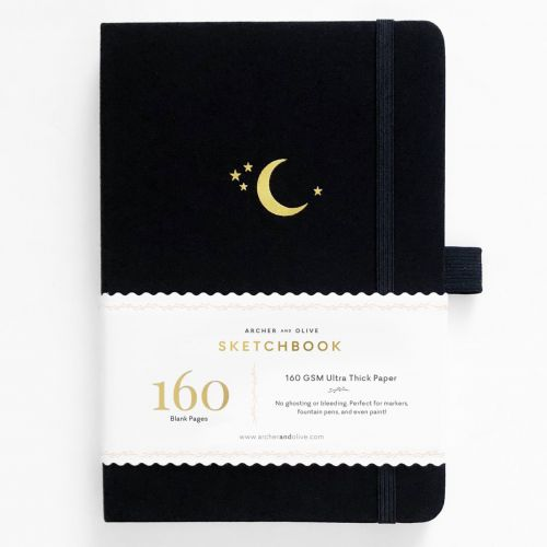 Archer & Olive A5 Crescent Moon Blank Pages Sketchbook 160pp Black/Gold (NEW)