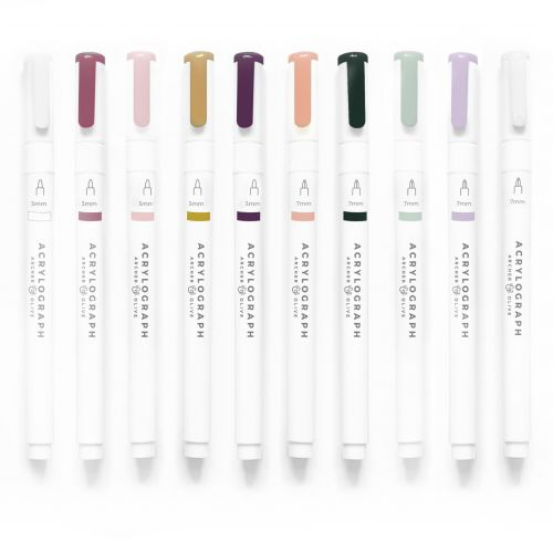 Archer & Olive Acrylograph Pens - Warm Fall Selection 3.0mm Medium Tip