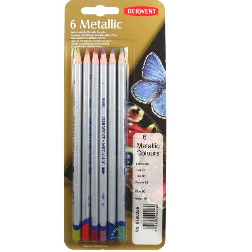 Derwent Watersoluble Metallic Pencils 6pk Bright