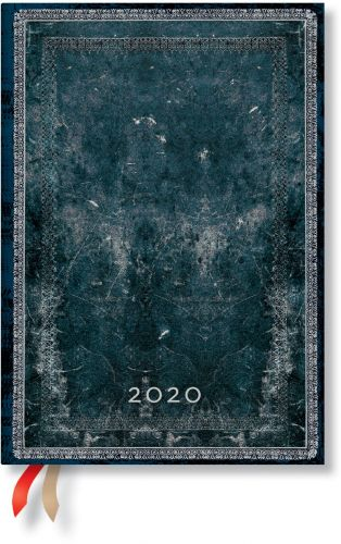 Paperblanks Midnight Steel Midi | Day-at-a-Time 2020 Diary (NEW)