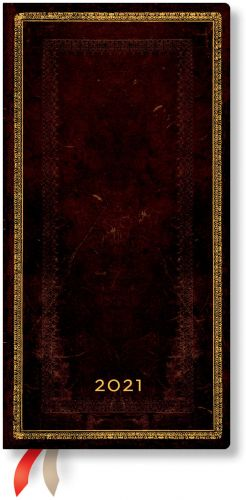 Paperblanks Black Moroccan Slim | Week-at-a-Time 2021 Diary HOR (NEW) (NOTE: 2021)