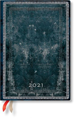 Paperblanks Midnight Steel Midi | Day-at-a-Time 2021 Diary