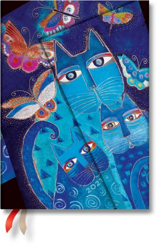 Paperblanks Blue Cats and Butterflies Midi   Week-at-a-Time 2021 Diary VER (OOS)