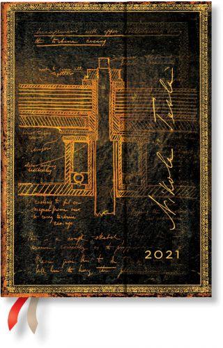 Paperblanks Tesla, Sketch of a Turbine Midi | Week-at-a-Time 2021 Diary VER (OOS)