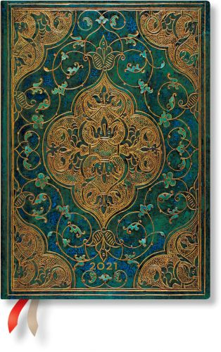 Paperblanks Turquoise Chronicles Midi   Week-at-a-Time 2021 Diary VSO (NEW) (OOS)