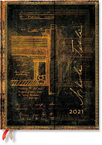 Paperblanks Tesla, Sketch of a Turbine Ultra | Week-at-a-Time 2021 Diary VSO (NEW)
