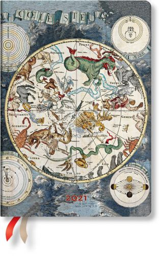 Paperblanks Celestial Planisphere Flexi Midi   Week-at-a-Time 2021 Diary HOR