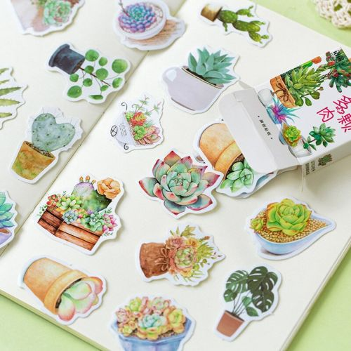 Stickers - Silent Afternoon Succulents (45pcs box) (NEW)
