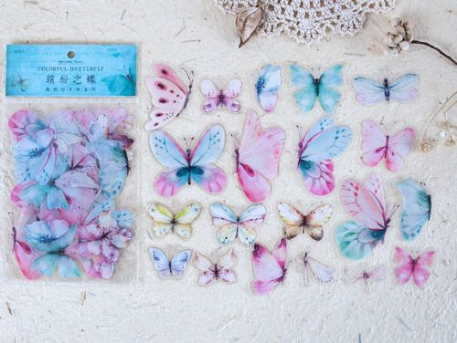 Stickers - Colorful Butterfly (40pcs bag) (NEW)