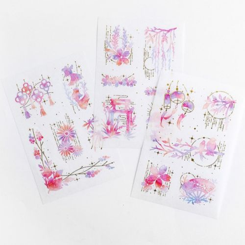 Stickers - Pink Flowers Gold Highlight Koi Lanterns (3 Sheets) (NEW)