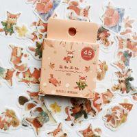 Stickers Box Fox Mushrooms Leaves Forest (45pcs box) (NEW)