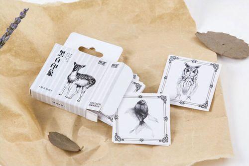 Stickers - Black and White Nature (45pcs box)