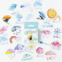 Stickers - Umbrella Cat - Assorted Weather Stickers (46pcs box)