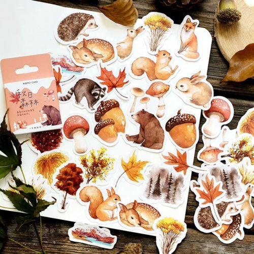 Stickers - Autumn Forest - Bear, Squirrel (46pcs box)