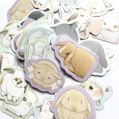 Stickers - Lop Rabbits (45pcs box)