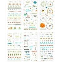 Stickers - Colour Borders and Bunting (6 sheets)