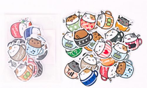 Stickers - Cats in Cups Stickers (20pcs)