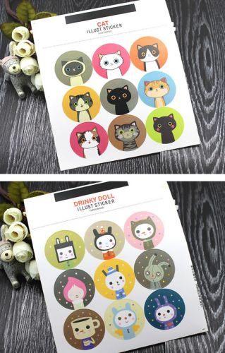 Stickers - Cats and Drinky Dolls (2 sheets)