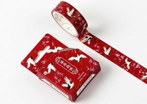 Washi Tape - Red Crane (15mm x 5m)