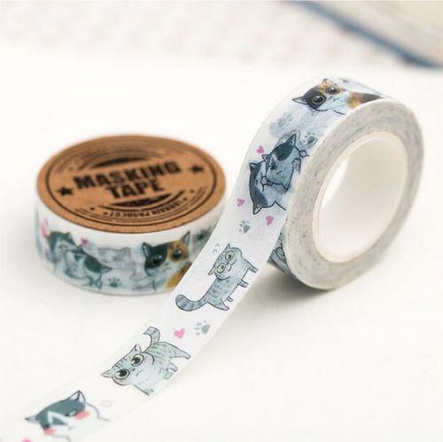 Washi Tape - Grumpy Grey Cat (15mm x 7m)