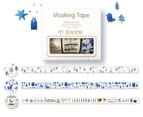 Washi Tape - 3 Rolls White Christmas Masking Tape (15mm x 5m)