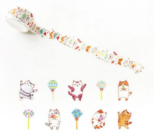 Washi Tape - Lolly Cat (100 stickers, 20mm x 25mm)