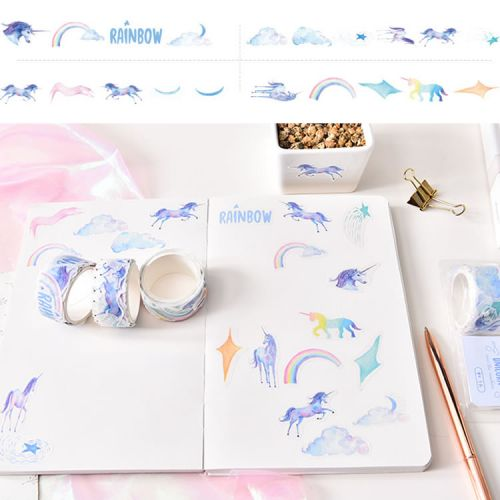 Washi Tape - Unicorn Over The Rainbow (120 stickers, 20mm x 40mm)