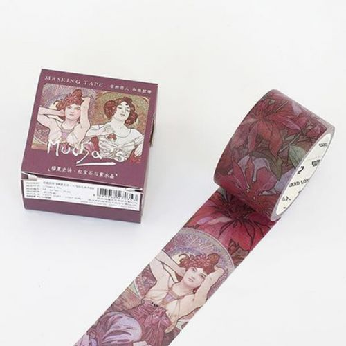 Washi Tape - Mucha - Ruby & Amethyst (30mm x 7m) (NEW)