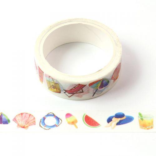 Washi Tape - Beach Holiday - PANDA (15mm x 5m)