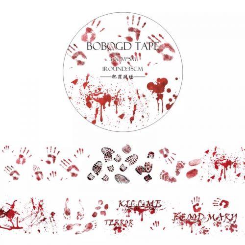 Washi Tape - Bloody Prints / Crime Scene / Horror (30mm x 5m)