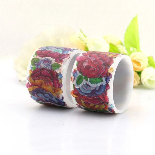 Washi Tape - Flowers Rose Sticker Roll (80 stickers, 30mm x 22mm)