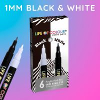 Life of Colour - Black and White Paint Pens - Fine Tip (1mm) (NEW)