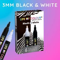 Life of Colour - Black and White Paint Pens - Medium Tip (3mm) (NEW)