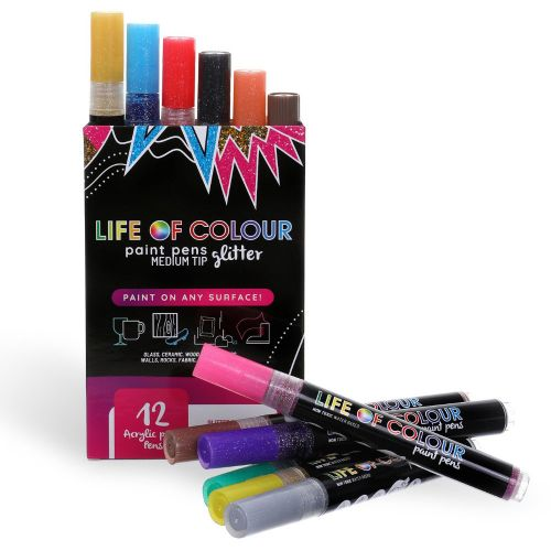 Life of Colour - Glitter Paint Pens - Medium Tip (3mm)