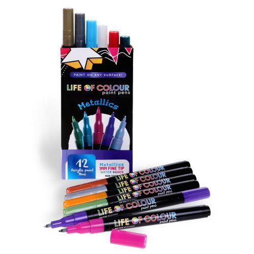 Life of Colour - Metallic Paint Pens - Fine Tip (1mm)