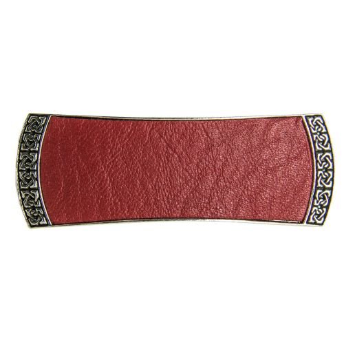 Hair Clip / Barrette - Celtic Leather 70mm - Red (NEW)