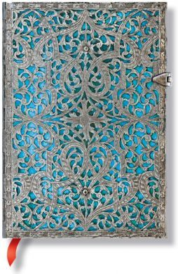 Paperblanks Silver Filigree Maya Blue Midi LINED