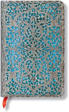 Paperblanks Silver Filigree Maya Blue Classic Mini LINED (RARE)