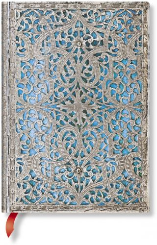 Paperblanks Silver Filigree Maya Blue Midi LINED (Signature Edition)